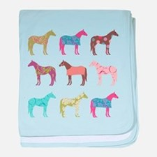 Colorful Horse Pattern baby blanket