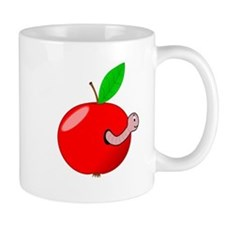 Red Apple With Worm Mugs