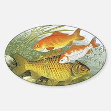 Vintage Marine Life, Goldfish Sticker (Oval)