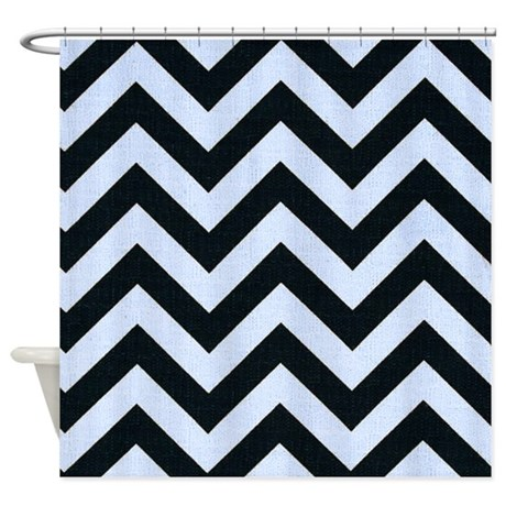Blue And Black Chevron Stripes Shower Curtain By