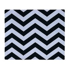 Black and Blue Chevron Stripes Throw Blanket