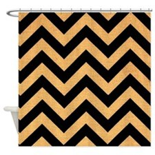 Black burlap zigzags Shower Curtain