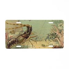 Vintage Marine Life, Shrimp Aluminum License Plate