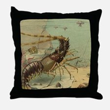 Vintage Marine Life, Shrimp Throw Pillow