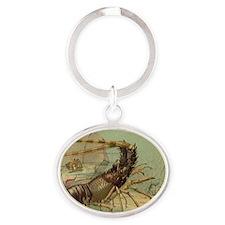 Vintage Marine Life, Shrimp Oval Keychain