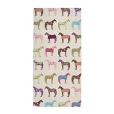 Colorful Horse Pattern Beach Towel