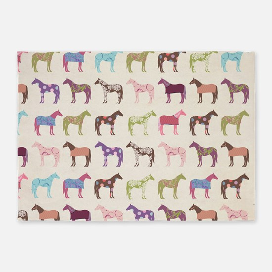 Colorful Horse Pattern 5'x7'Area Rug