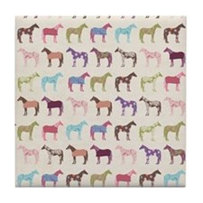 Colorful Horse Pattern Tile Coaster