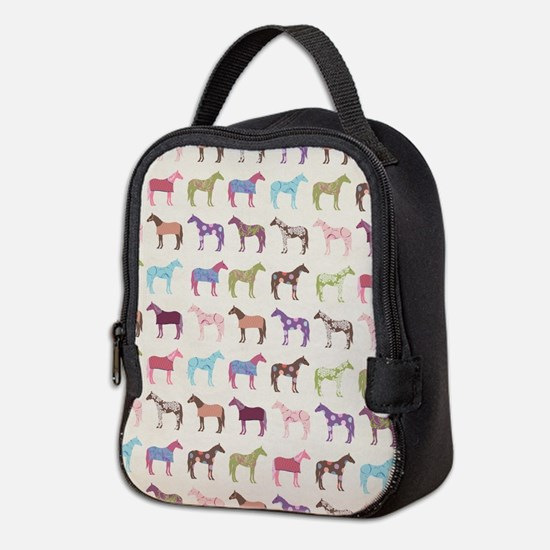 Colorful Horse Pattern Neoprene Lunch Bag