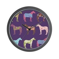 Colorful Horse Pattern Wall Clock