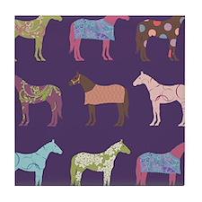 Colorful Horse Pattern Tile Coaster