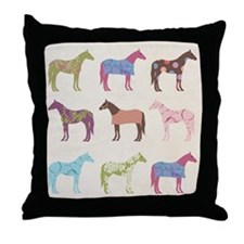 piColorful Horse Pattern Throw Pillow