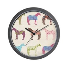 piColorful Horse Pattern Wall Clock
