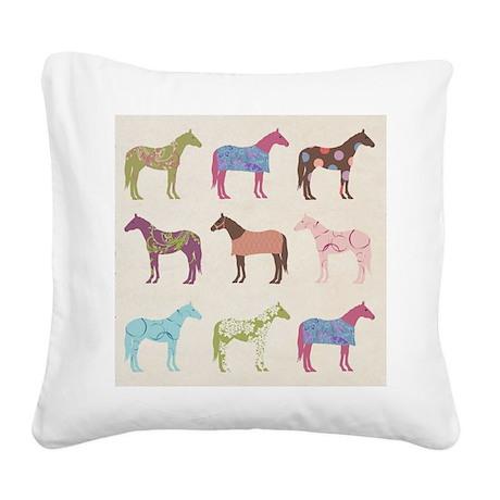 piColorful Horse Pattern Square Canvas Pillow