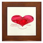 Red Rose in Heart Valentine Framed Tile