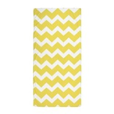 Yellow Chevron Pattern Beach Towel