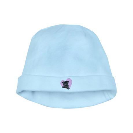 Black Pug Pink Heart baby hat