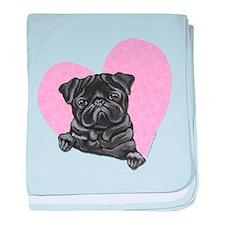 Black Pug Pink Heart baby blanket