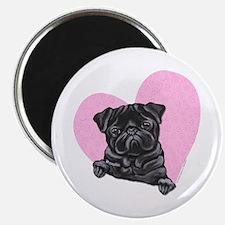 """Black Pug Pink Heart 2.25"""" Magnet (10 pack)"""