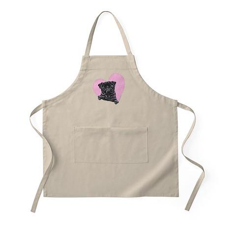 Black Pug Pink Heart Apron