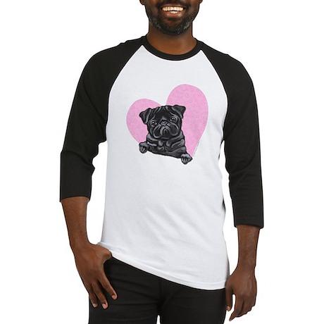 Black Pug Pink Heart Baseball Jersey