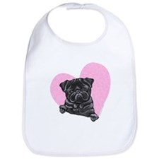Black Pug Pink Heart Bib