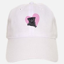 Black Pug Pink Heart Baseball Baseball Cap