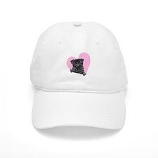 Black Pug Pink Heart Baseball Cap