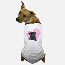 Black Pug Pink Heart Dog T-Shirt