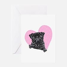 Black Pug Pink Heart Greeting Card