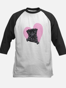 Black Pug Pink Heart Kids Baseball Jersey