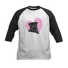 Black Pug Pink Heart Tee