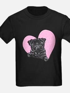 Black Pug Pink Heart T