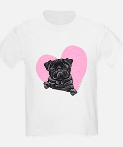 Black Pug Pink Heart T-Shirt