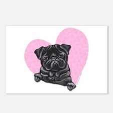 Black Pug Pink Heart Postcards (Package of 8)