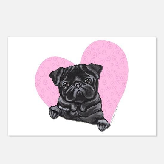 Black Pug Pink Heart Postcards (Package of 8)