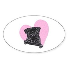 Black Pug Pink Heart Decal