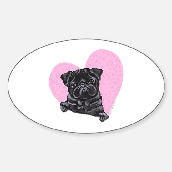 Black Pug Pink Heart Sticker (Oval)