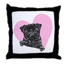 Black Pug Pink Heart Throw Pillow