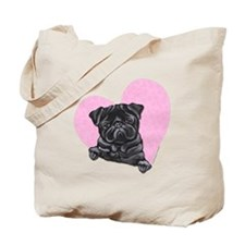 Black Pug Pink Heart Tote Bag