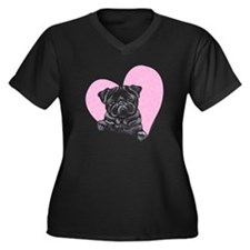 Black Pug Pink Heart Women's Plus Size V-Neck Dark