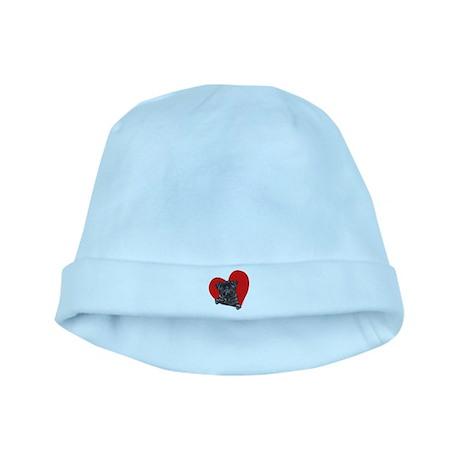 Black Pug Heart baby hat