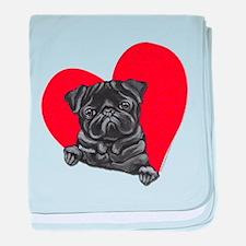 Black Pug Heart baby blanket