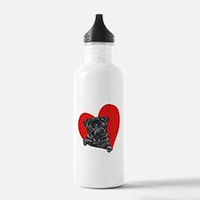 Black Pug Heart Water Bottle