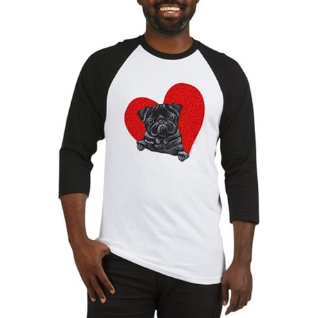 Black Pug Heart Baseball Jersey