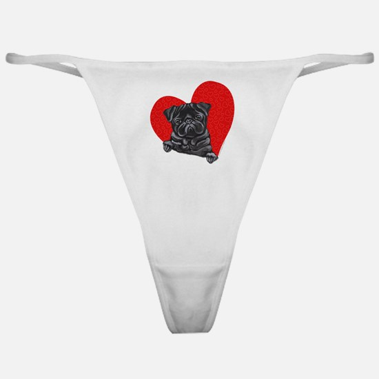 Black Pug Heart Classic Thong