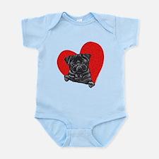 Black Pug Heart Infant Bodysuit