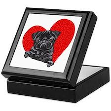 Black Pug Heart Keepsake Box