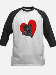 Black Pug Heart Kids Baseball Jersey