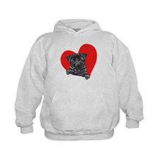 Black Pug Heart Hoodie